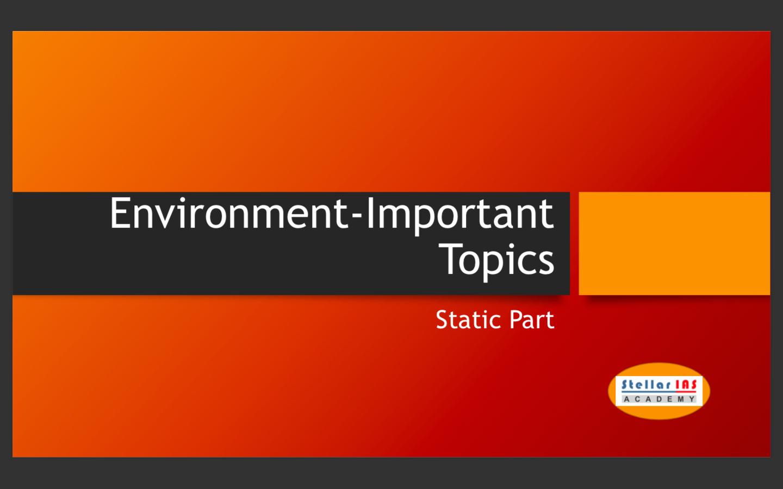 important topics environment