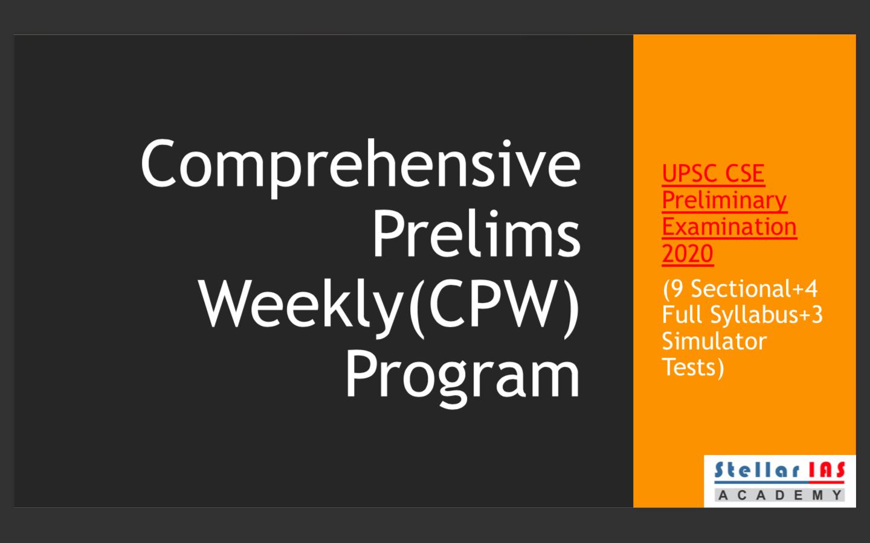 Comprehensive Prelims Weekly Program